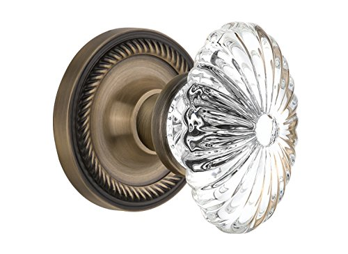 (Nostalgic Warehouse Rope Rosette with Oval Fluted Crystal Glass Knob, Mortise - 2.25