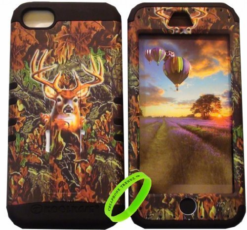 Cellphone Trendz (TM) Apple iPhone 5C Camo Deer Hunter series on Black Silicone 2 in 1 Hybrid Rocker High Impact Bumper Case Hard Plastic Protective Cover Case with Kickstand + Free Wristband Accessory - Cellphone Trendz (TM)