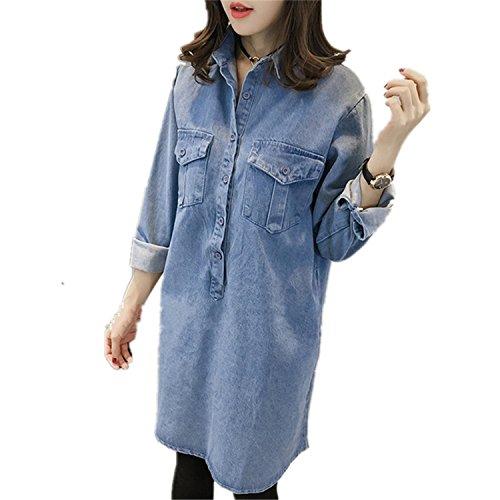 Henraly Plus Size 5XL Spring Autumn Denim Dress Women Casual Loose Long Sleeve Vintage Office Dress C2961 dark blueXXL