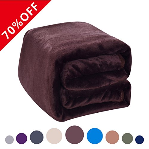 Fleece Blanket 380 GSM Anti-static Super Soft Lightweight Warm Fuzzy Bed Blanket by Dream Fly Life (50 x 61 inch, Chocolate)