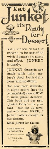 Chr Cream (1911 Ad Chr Hansen's Laboratory Junket Ice Cream Sweets - Original Print Ad)
