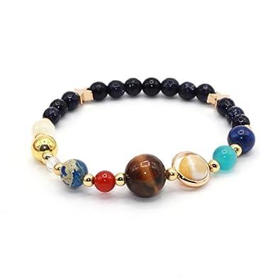 JSDDE Solar System Bracelet/Necklace, Universe Galaxy The Nine Planets Guardian Star Crystal Stone Bracelets W/ Glass Beads