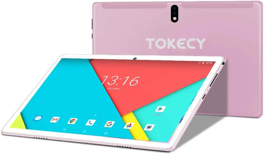 Amazon Com Tablet 10 Inch Android 9 Tokecy Quad Core Tablet 4gb Ram 64gb Storage 1920x1200 Ips Hd Display 8mp 5mp Dual Camera 2 Sim Phablet Google Gms Certified Bluetooth Pink Computers Accessories