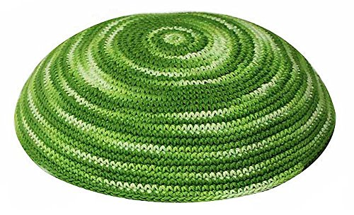 Zion Judaica Knit Quality Kippot for Affairs or Everyday Use Single or Bulk Orders - Optional Custom Imprinting Inside for Any Event (1PC, Green Whirlpool)