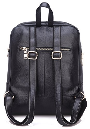 2c4130481e94 Coolcy Hot Style Women Real Genuine Leather Backpack Fashion Bag (Black)