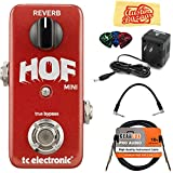 TC Electronic HOF Mini Reverb Guitar Effects Pedal Bundle with 9V Power Adapter, Gearlux Instrument Cable, Patch Cable, Picks, and Polishing Cloth