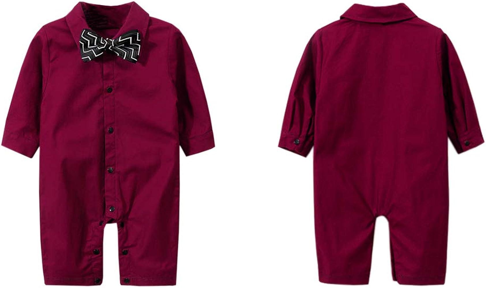 ZIHUOKIJ - Mono Formal para bebé con corbatín Rojo Rojo Vino 59 cm ...