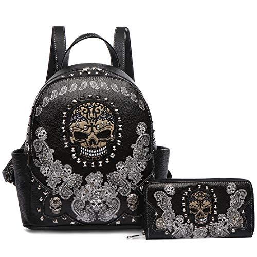 Python Shoulder Handbag Bag Purse - Sugar Skull Punk Art Rivet Stud Biker Purse Women Fashion Backpack Python Daypack Shoulder Bag Wallet Set (#2 Black Set)