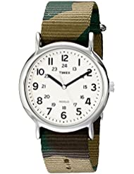 Timex Unisex T2P365 Weekender Silver-Tone Watch with Camo Nylon Band