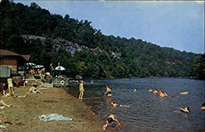 Beach And Swimming Area At Carter Caves State Park Olive Hill, Kentucky Original Vintage Postcard
