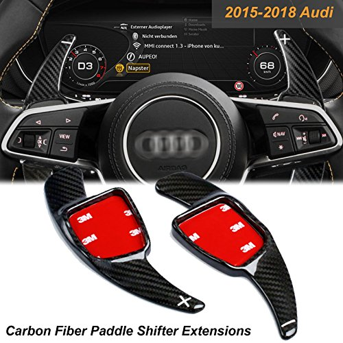 Xotic Tech Carbon Fiber Paddle Shifter Extensions Steering Wheel Shift for Audi 2015-up A3 A4 Q7 TT S3-S6 RS Q7, 2017-up A5