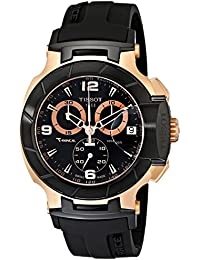 Men's T0484172705706 Rose Gold-Tone Watch with Black Band