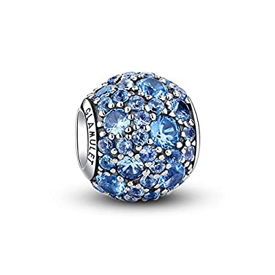 Glamulet Bright Pave Swarovski Crystal Charms Sterling Silver Antique Round Beads for Women (Bright Blue) by Glamulet