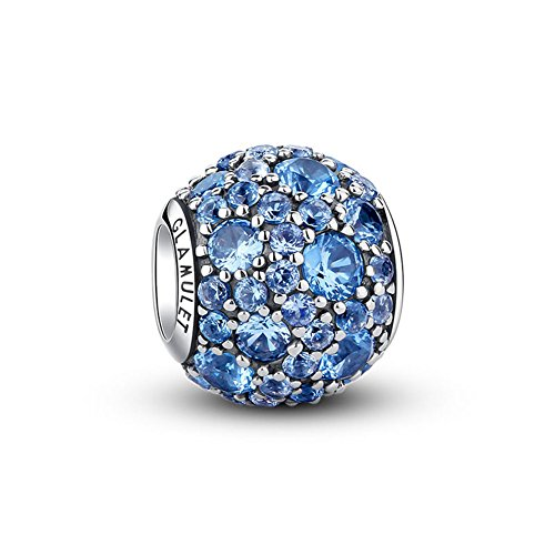 (Glamulet Bright Pave Swarovski Crystal Charms Sterling Silver Birthstone Antique Round Beads for Women (Bright Blue) )