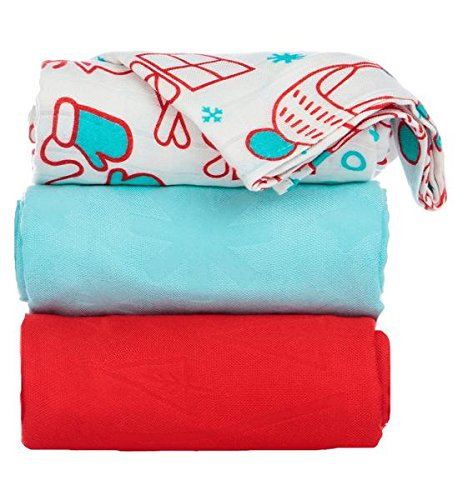 Tula Baby Blanket Set, 3 Pack of 47x47 Inches, 100% Viscose from Bamboo Unisex Swaddle Blankets - Snow Day (Winter Scene, Light Blue, Red)