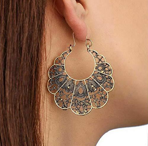 (Monowi Womens Vintage Bohemian Boho Style Tibetan Carved Beads Tassel Dangle Earrings | Model ERRNGS - 4606 |)