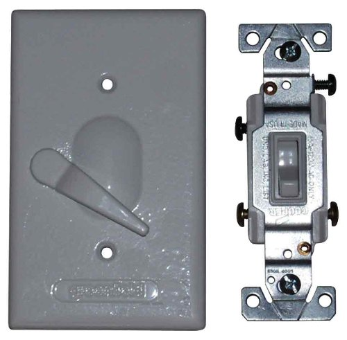 Made in USA Electrical Box Outlet Cover & Three Way Switch Kit - Gray