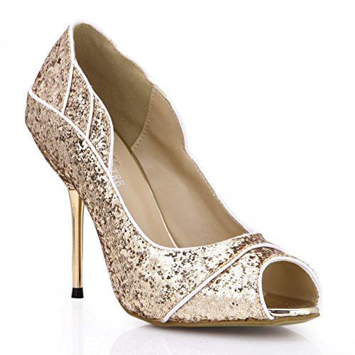 Click women fall new bride wedding the the high-heel shoes large golden light slice fish tip women shoes Pale Gold PewXBA