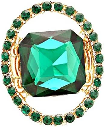 Oval Green Stretch Ring BL Halo Of Matching Crystal Stunning
