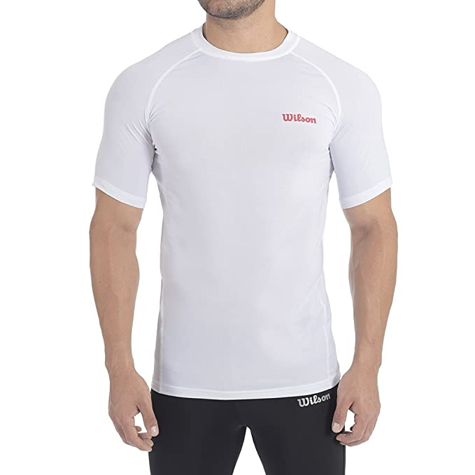 Wilson Playera Running- Cuello Redondo Color Blanco Talla Xg  Amazon ... a2a13c9580944