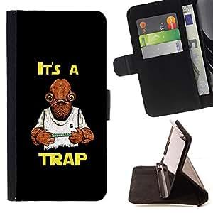 - It's A Trap Funny Star/ Personalizada del estilo del dise???¡¯???¡Ào de la PU Caso de encargo del cuero del tir???¡¯????n del s - Cao - For LG G3