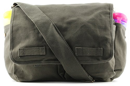 Heavyweight Army Canvas Messenger Shoulder Bag Carry-All Bookbag, Olive by Army Force Gear