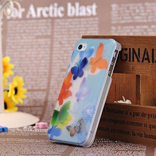 iPhone Case Cover IPhone 4S Fall bunter Schmetterlings- und Blumenfarbe Patter mit leuchtender Fluoreszenz-Licht-harte Fall-Abdeckung für IPhone 4S