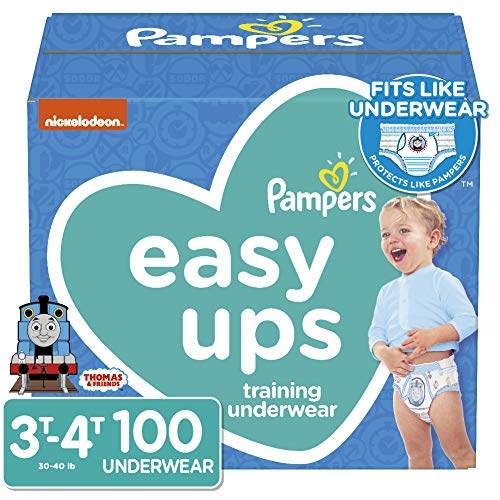 Pampers Easy Ups Diapers Size 5 (3T-4T), Pull On Disposable Training Pants for Boys, Giant Pack, 100 Count