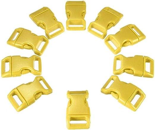 Pack De 10 Plástico Lanzamiento Hebillas Laterales Ajustables Libera El Cierre Gran Accesorios para El Collar De Perro De La Correa De Equipaje Paracord Pulseras Amarillas: Amazon.es: Equipaje