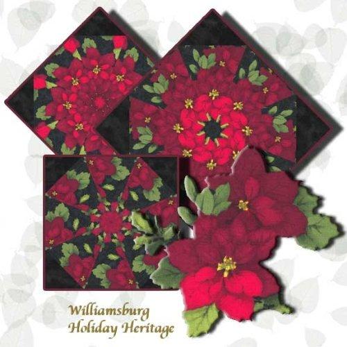 Christmas Poinsettias Kaleidoscope Quilt Block Kit