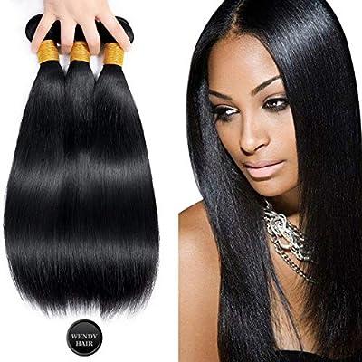 WENDY HAIR Straight Brazilian Virgin Hair 3 Bundles Grade 10A, 100% Unprocessed Brazilian Virgin Human Hair Extensions