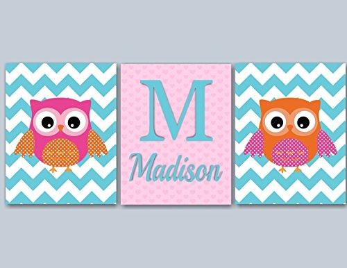 Owl Nursery Wall Art,Owl Wall Art,Orange Pink Turquoise