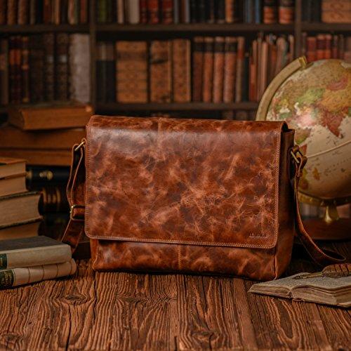 LEABAGS el Bandolera Estilo Cuero Bolso Furryvinkat búfalo de Fox Vintage en auténtico Oxford HFHZ1Bnwq