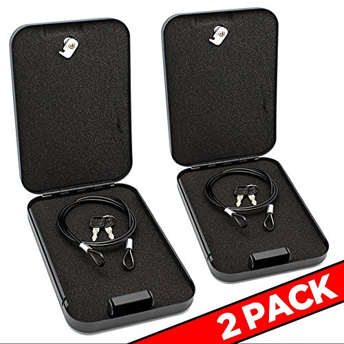 GERO Tactical Hard Locking Steel Metal Gun Case with Foam Padding & Security Cable for Pistols Handguns Cameras Electronics Knife Credit Cards & Accessories - Attach to Desks Nightstands - 2Pack