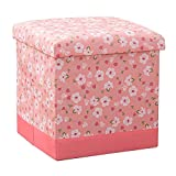 JYKJ Storage Stool Folding Toy Storage Box Seat Bathroom Stool Footstool Home Clothes Square Storage Box (Color : Light pink)