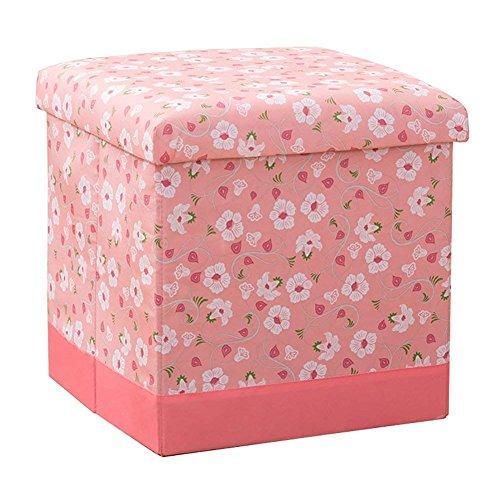 JYKJ Storage Stool Folding Toy Storage Box Seat Bathroom Stool Footstool Home Clothes Square Storage Box (Color : Light pink) by JYKJ