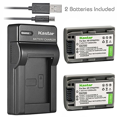 Kastar Battery (X2) & Slim USB Charger for Sony NP-FP51 NP-FP50 and DCR-30 DVD103 DVD105 DVD203 DVD205 DVD305 DVD92 HC20 HC21 HC26 HC32 HC36 HC40 HC42 HC46 HC65 HC85 HC96 SR40 SR60 SR80 SR100 TRV460E by Kastar