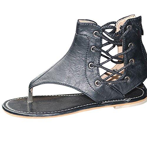 Womens Sandals 2018 New Summer Flat Shoes  Roman Ankle Straps Shoes  Flip Flop Casual Shoes Open Toe  Black  40 Us 7 5