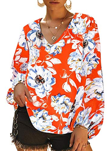 Dokotoo Womens Casual Flower Ladies Fashion 2019 Autumn Floral Printed Loose Tops Shirts Balloon Long Sleeve V-Neck Tunics Blouses Tops for Womens Orange Medium (Ladies Long Sleeve V-neck Tops)
