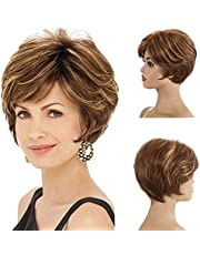 MEIRIYFA Short Pixie Cut Wigs for Women,Brazilian Layered Wavy Short Hair Synthetic Wig with Side Bangs Daily Hair