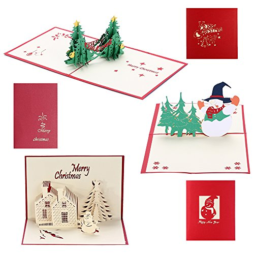Christmas Cards 3D Pop Up Holiday Greeting Card for Xmas/Thanksgiving/New Year - 1 Christmas Tree Card, 1 Christmas Castle Card, 1 Snowman Card & 3 Envelopes (3 Pack - Xmas)