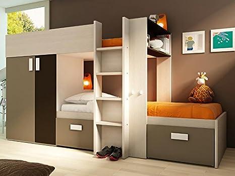 Etagenbett Julien : Kinderbett hochbett etagenbett julien 2x90x190cm weiß & braun