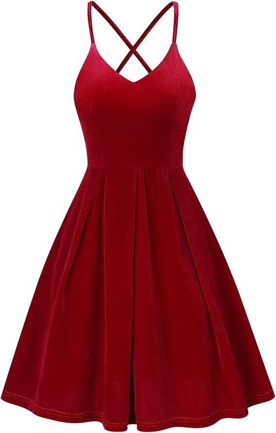 KOJOOIN - Elegante vestido de noche para mujer, elegante y sin espalda, vestido de cóctel, vestido de verano, con cordones, cuello en V, sin mangas, largo hasta la rodilla (embalaje múltiple)