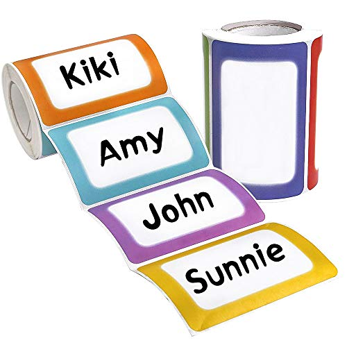 (Forbetter 500 Pcs Colorful Name Tags Plain Name Badge Label Stickers, 3.5
