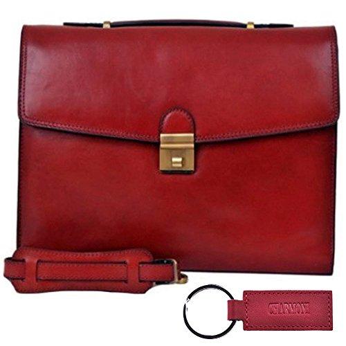 Charmoni cartera-- -Maletín De 2 protecciones De piel De vaqueta, con nueve Aglae Rojo