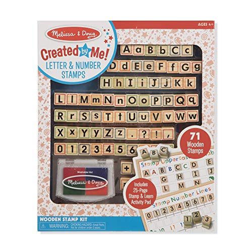 Melissa & Doug Created by Me! Letter & Number ABCs 123s Wooden Stamp Kit, Activity Book, 4-Color Ink Pad