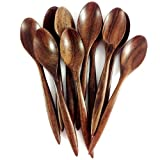 Set 10 of 5 Inch Small Wooden Teaspoons / Coffee Spoons, Handcraft Siamese RoseWood (Brown) by Thai