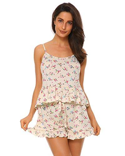 Print Vest Silk (Suzicca Women Pajama Set Floral Print Sleepwear Loose Short Nightwear Lingerie Set(Vest and Shorts))