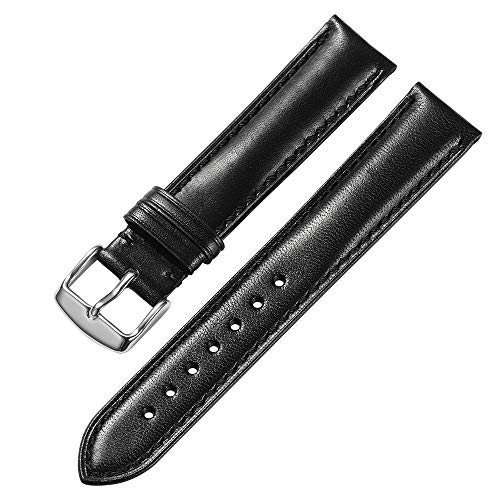 Genuine Leather Watch Band 18 19 20 21 22mm iStrap Padded Calfskin Strap Steel Deployant Clasp Super Soft(Six Color Choose) (20mm, Black tan Stitch Silver)
