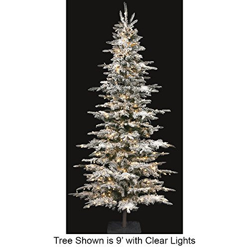 SilksAreForever 9'Hx52 W Flocked Laser Glittered Pine Lighted Artificial Christmas Tree w/Stand -Green/White